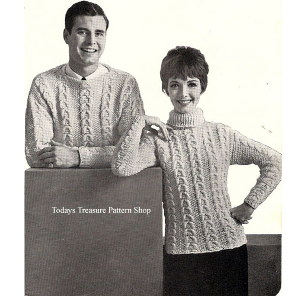 Mans Knit Cable Sweater Pattern