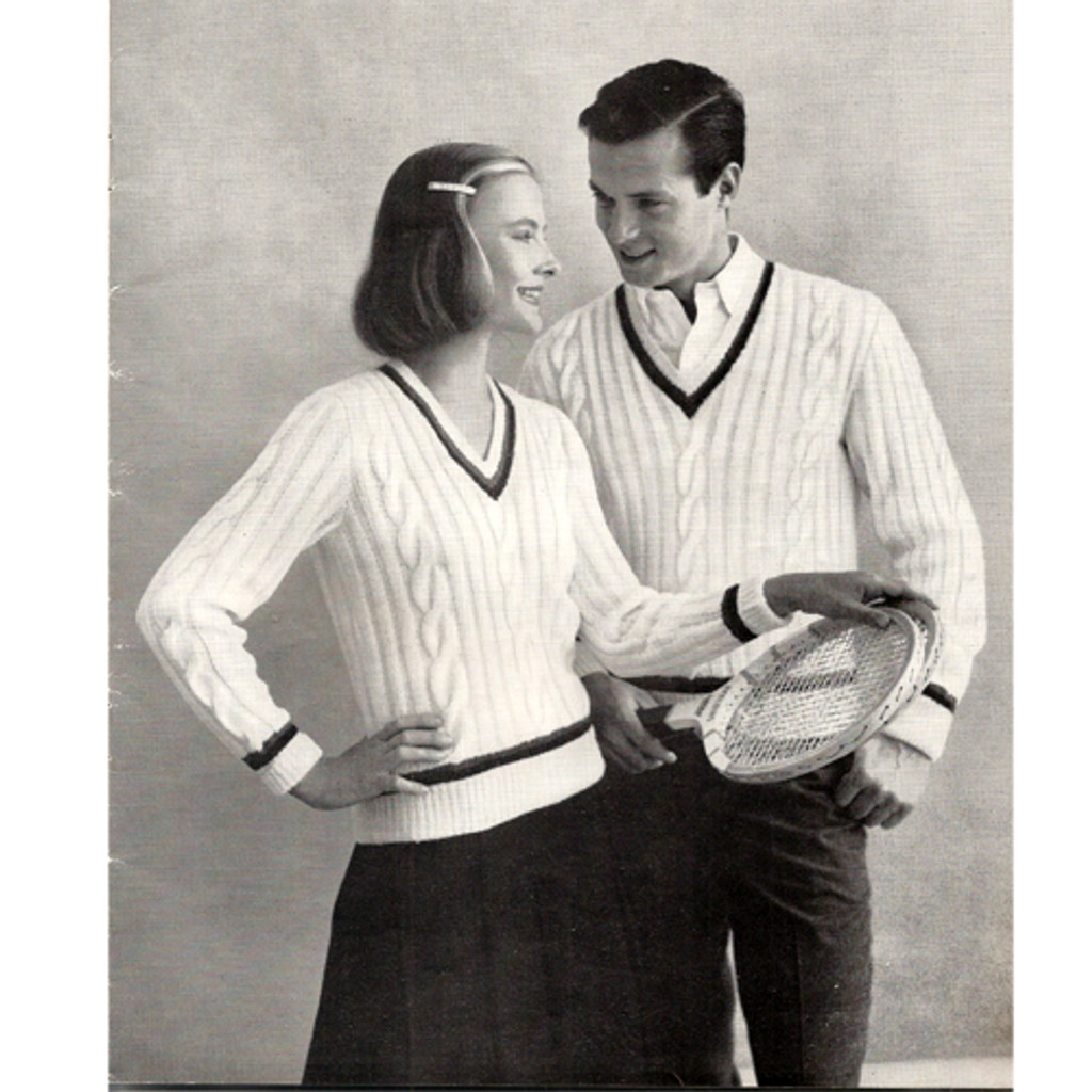 Mens Tennis Sweater knitting pattern, cabled