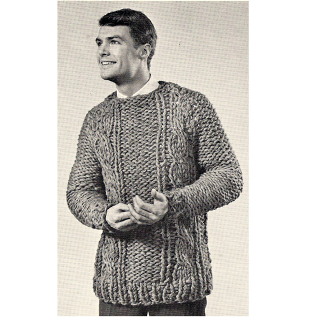 Mans Cable Knit Pullover Pattern, Big Needle