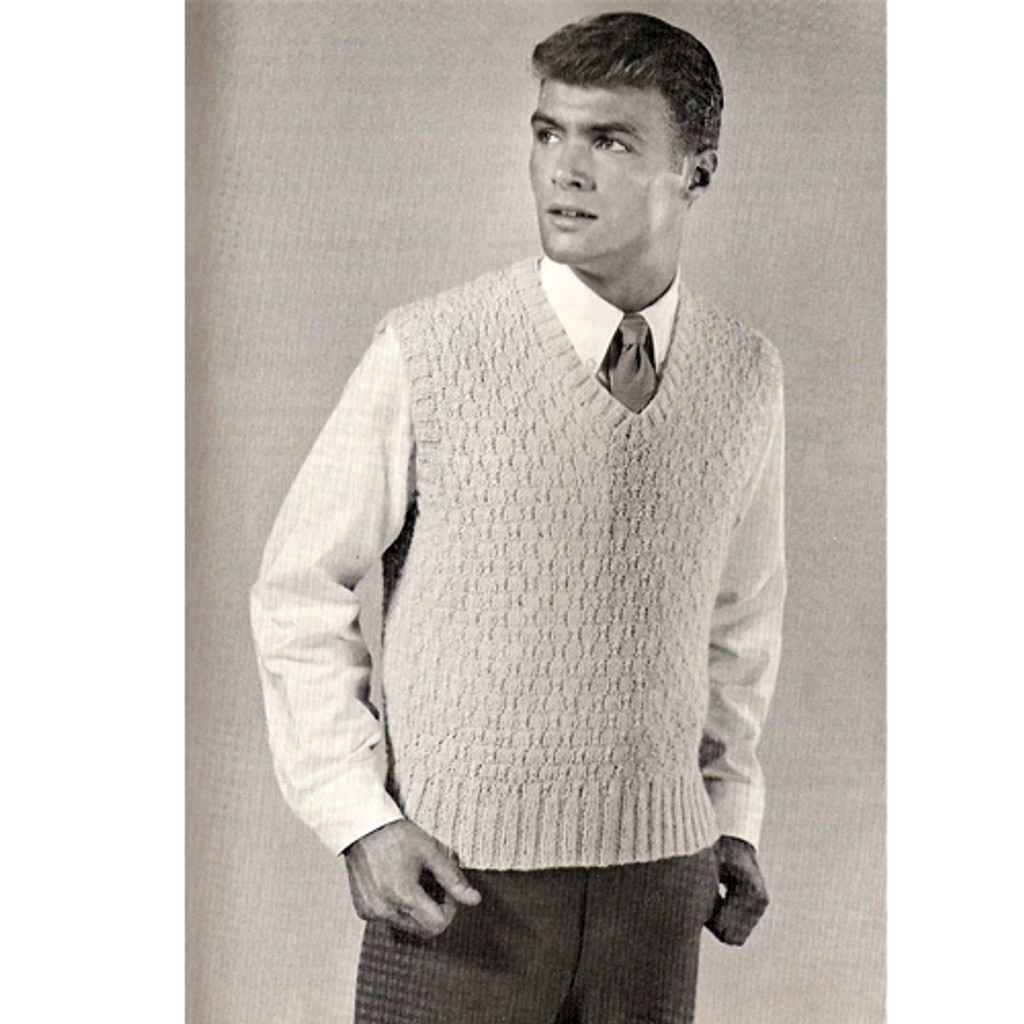 Free Mans Knitting Pattern Sleeveless Pullover