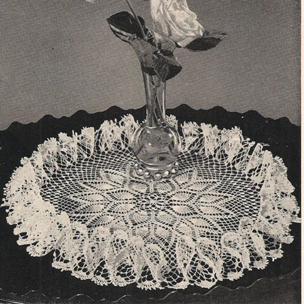 Crochet Pattern Centerpiece Ruffled Pineapple Doily