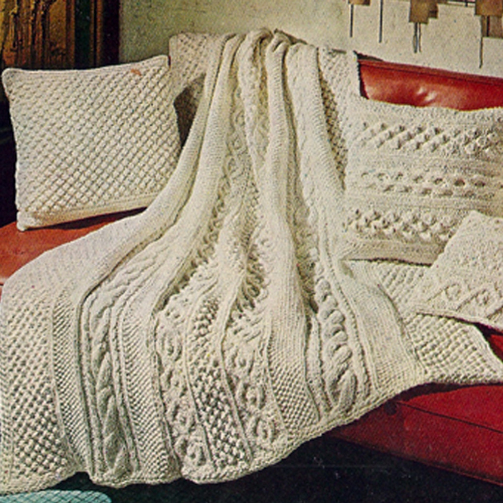 American Thread Knitted Aran Afghan Pattern