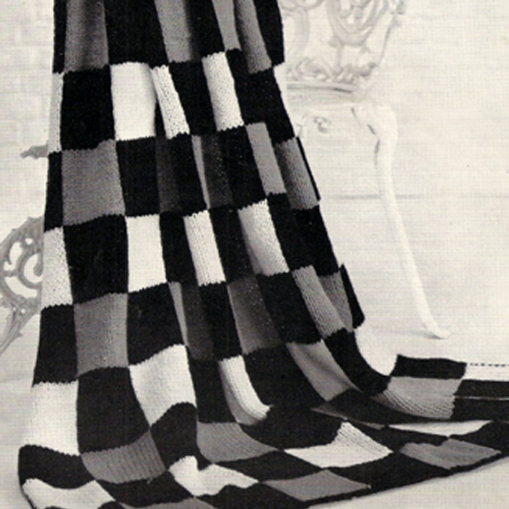 Checkerboard Knitted Afghan pattern no 505