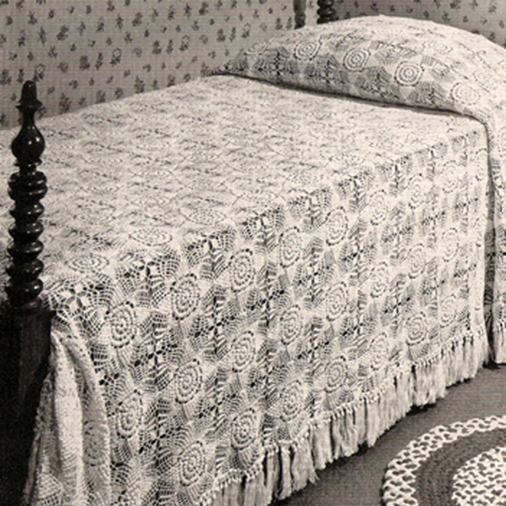 Vintage Snow White Crocheted Bedspread Pattern in Blocks