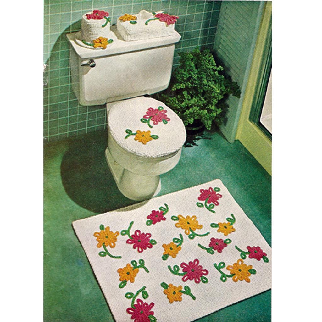 Pretty Crochet Bathroom Rug Pattern Set with Flowers