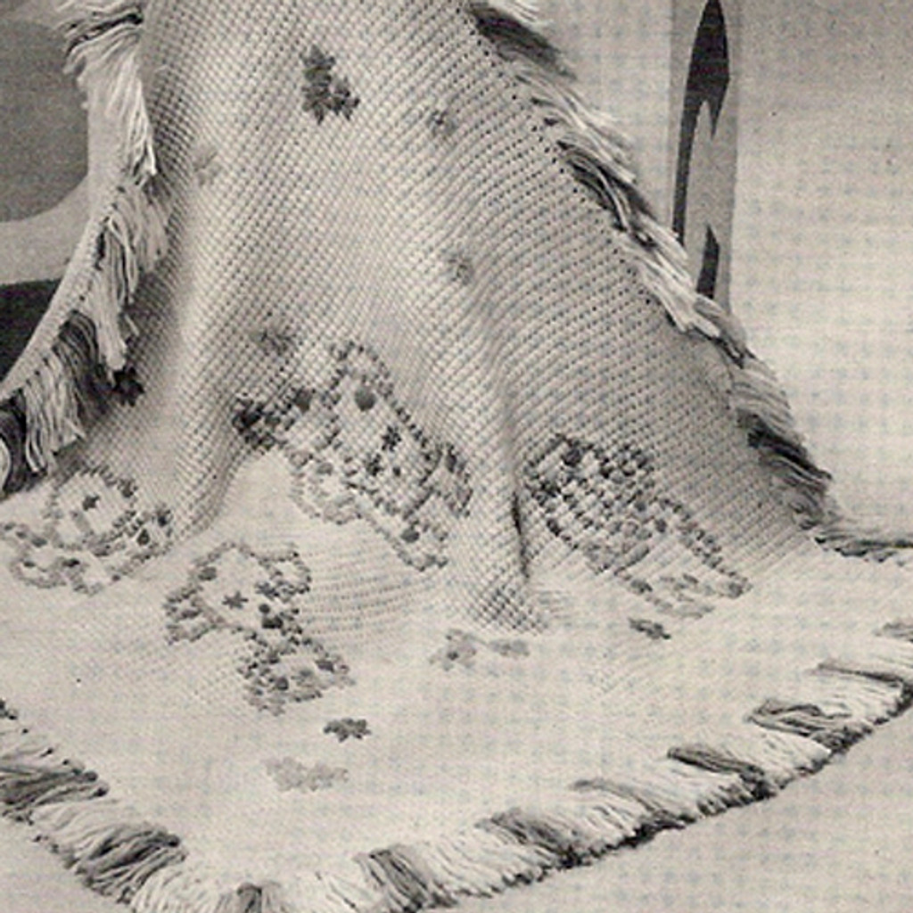 Vintage Crochet Baby Blanket Pattern, Puppy Embroidery