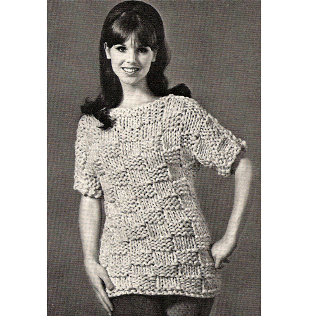 Knitting Pattern, Block Stitch Pullover
