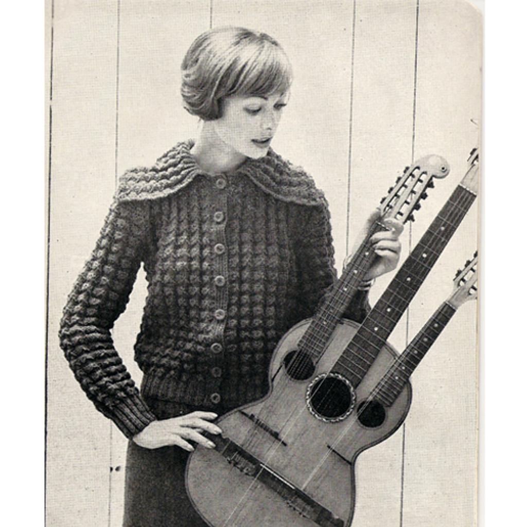textured knit cardigan pattern, vintage American Thread