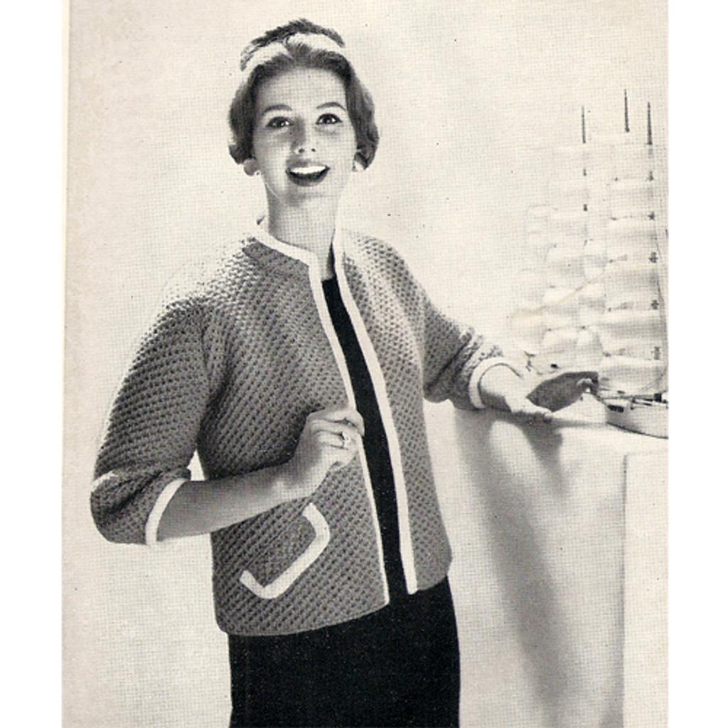 Vintage Cardigan Knitting Pattern, pockets, contrast trim
