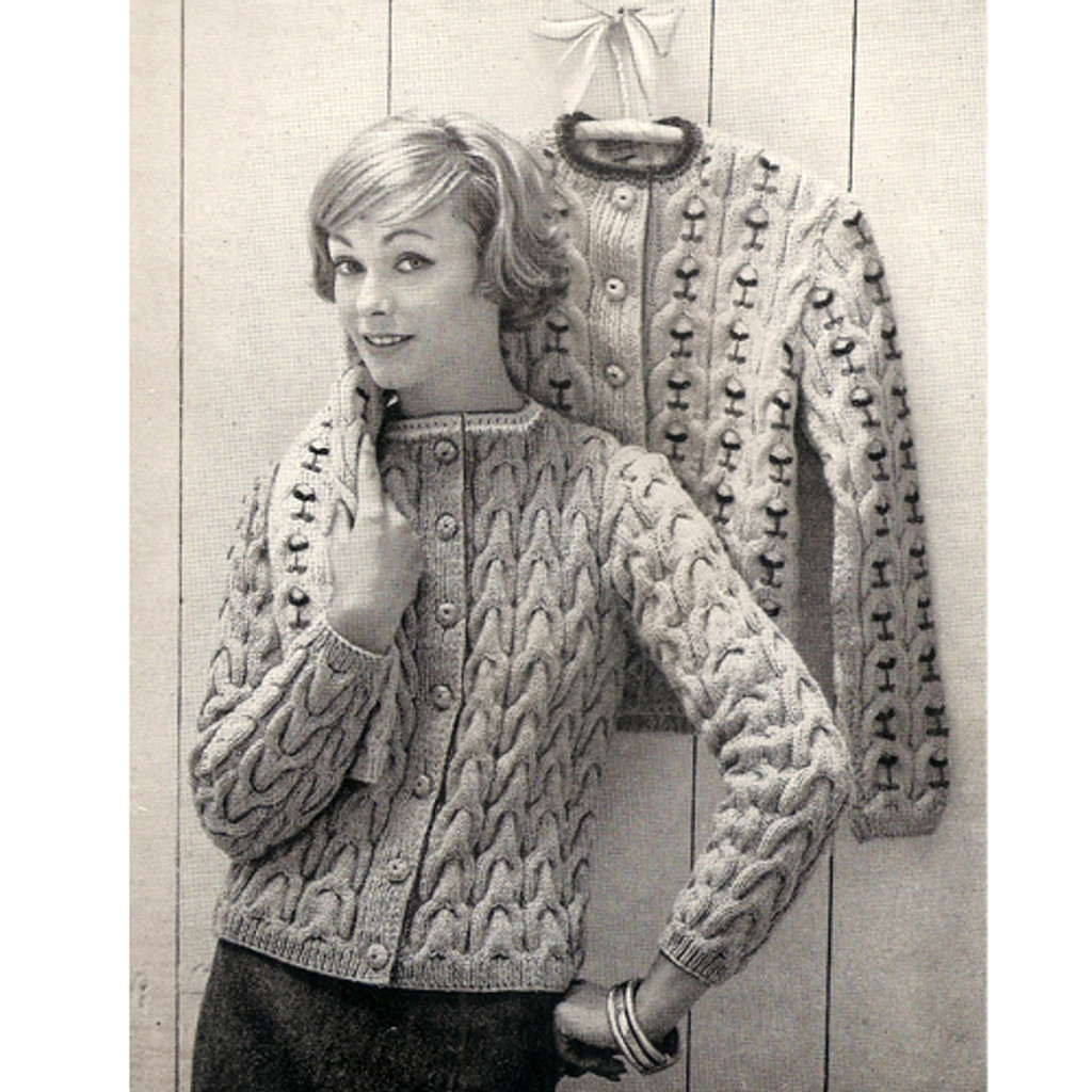 Knitting Pattern Cable Cardigan with Embroidery Detail