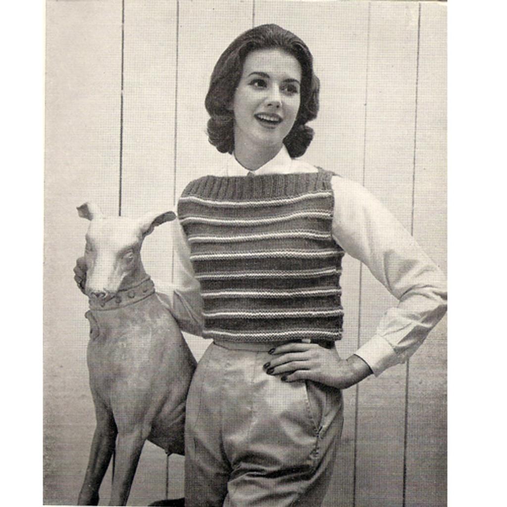 Striped Pullover Vest Knitting Pattern, Vintage 1960s