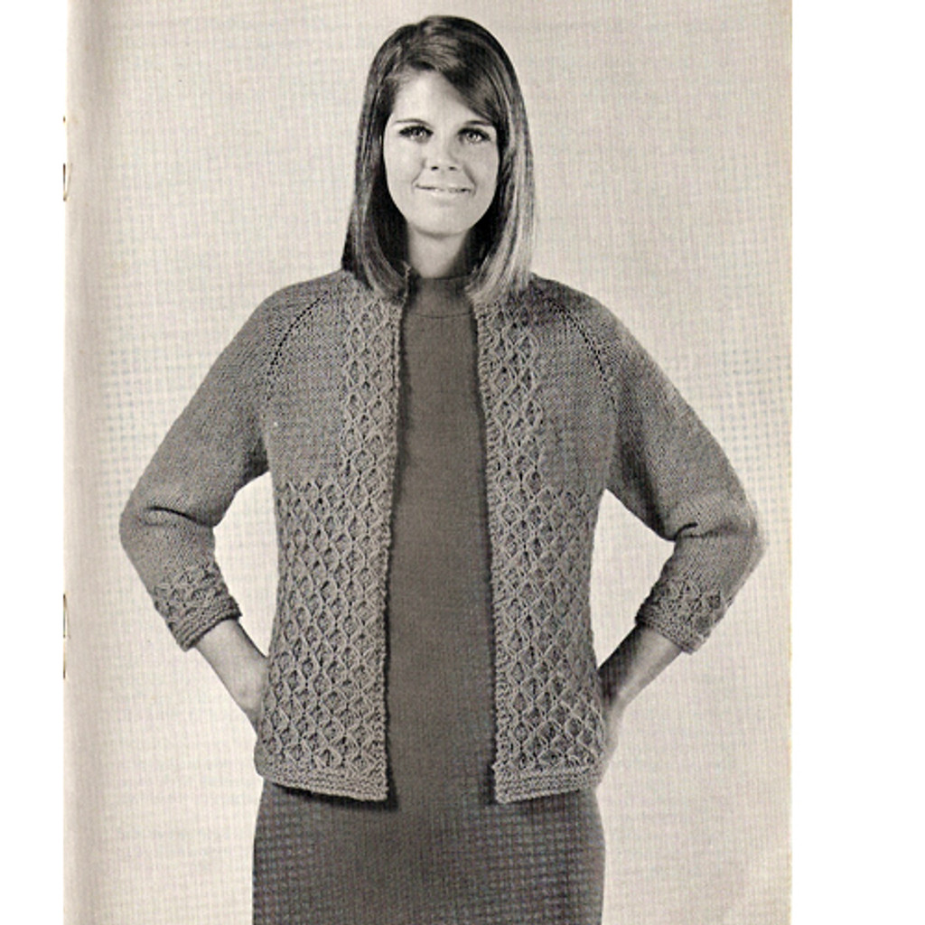 Cardigan Knitting Pattern in Diamond Stitch, Vintage 1960s
