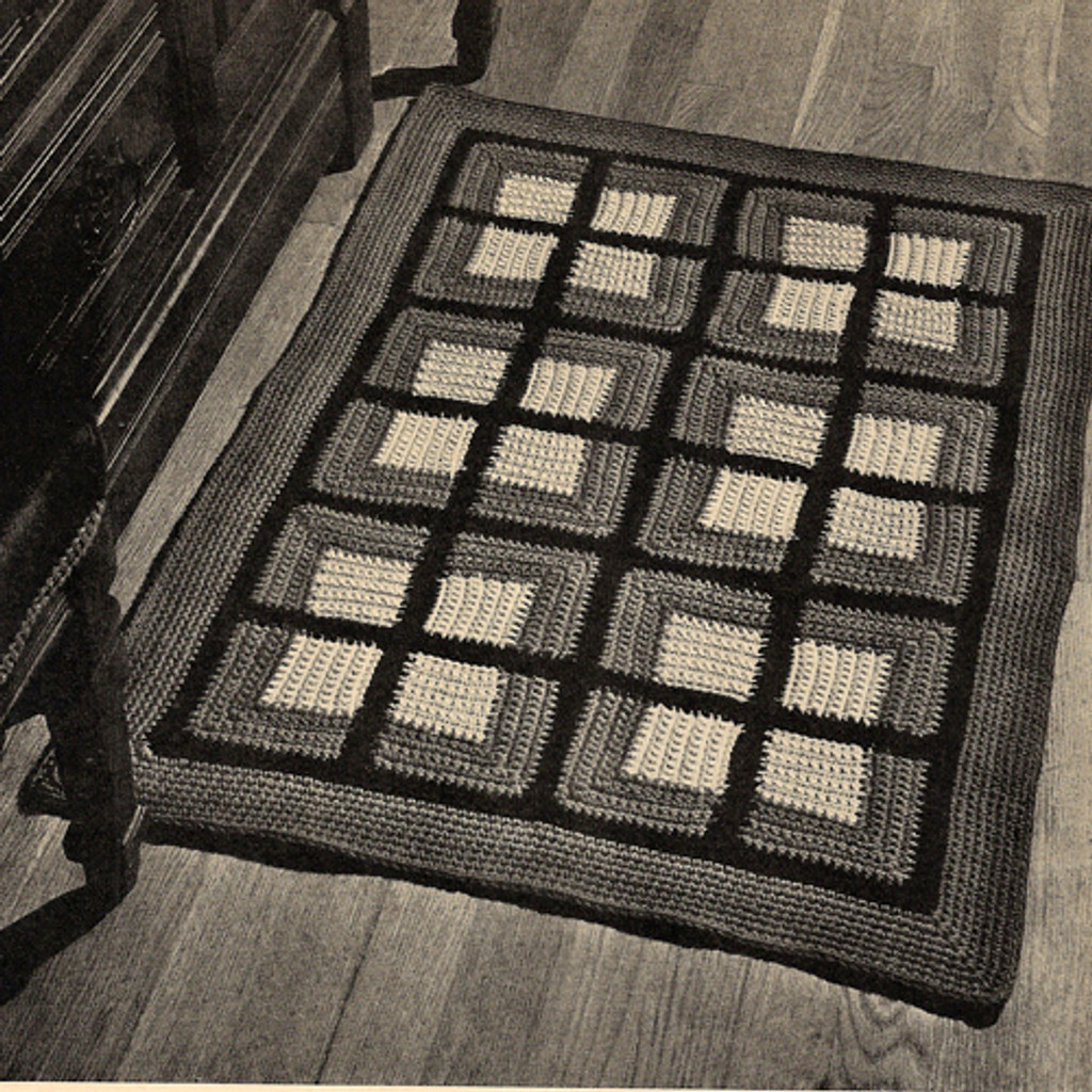 Vintage Colonial Squares Rug Crochet Pattern