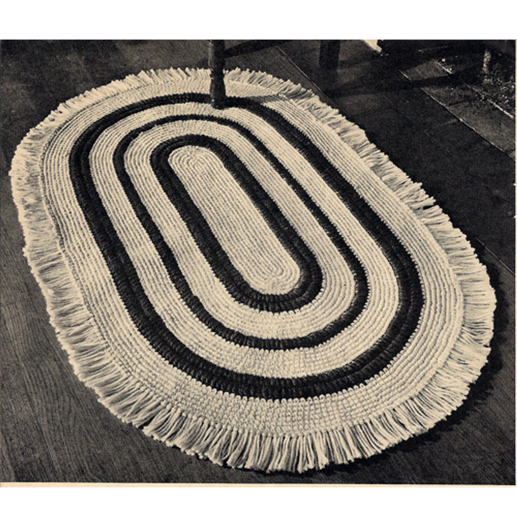 Oval Striped Crochet Rug Pattern, fringe