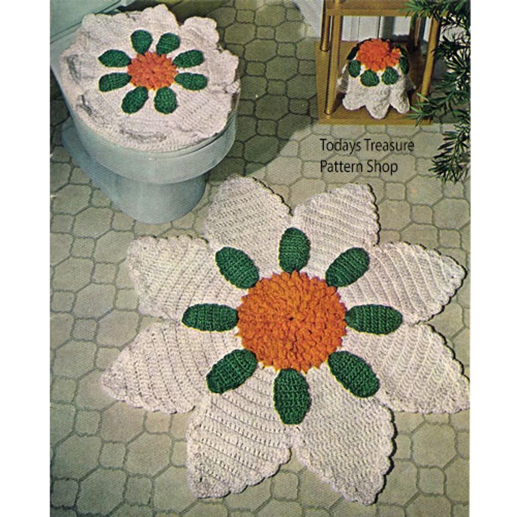 Flower Bathroom Crochet Rug Pattern