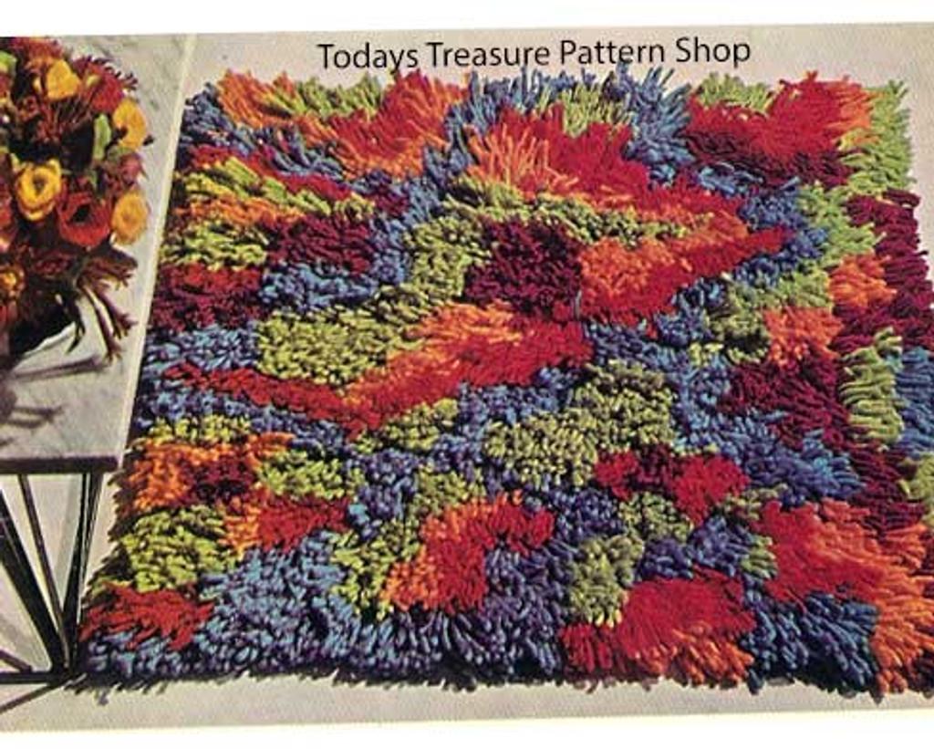 Loop Stitch Crochet Rug Pattern, Vintage 1960s