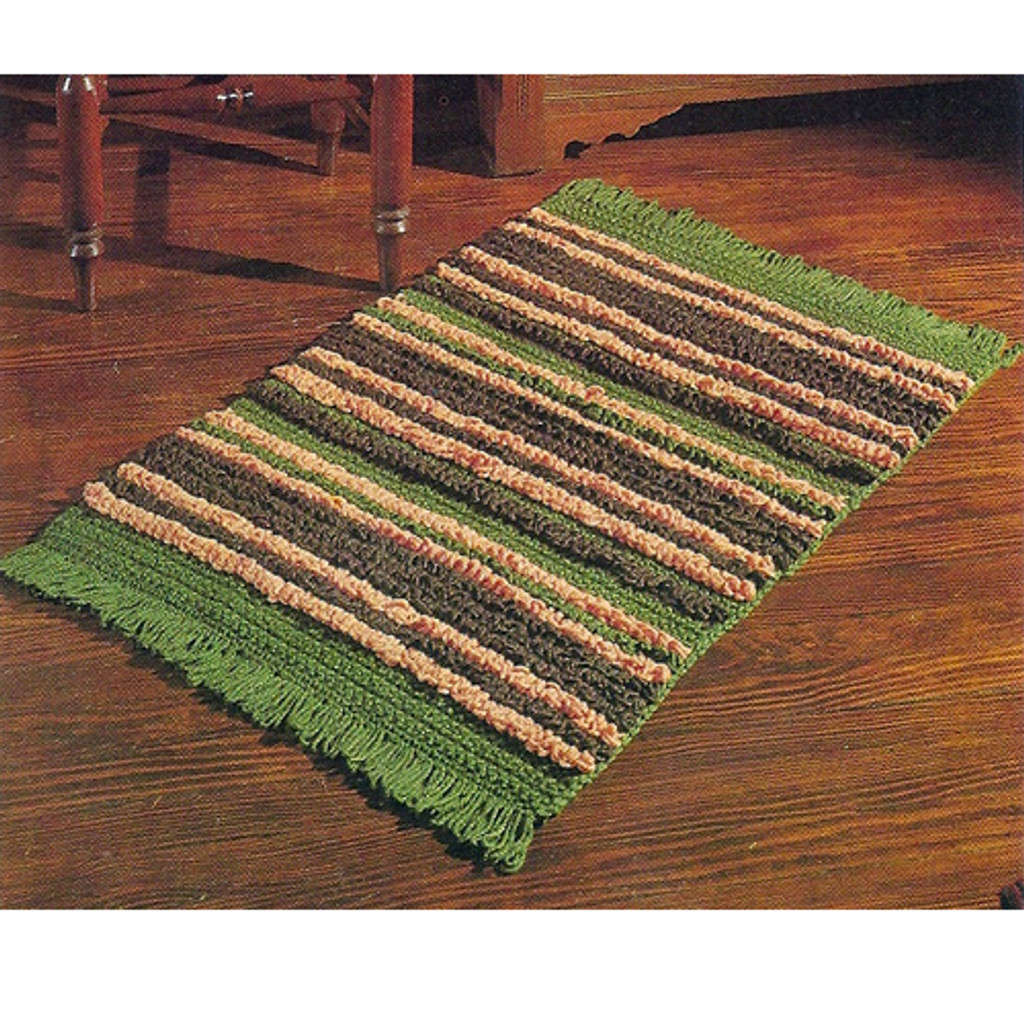 Fringed Crocheted Rug Pattern in three color stripes