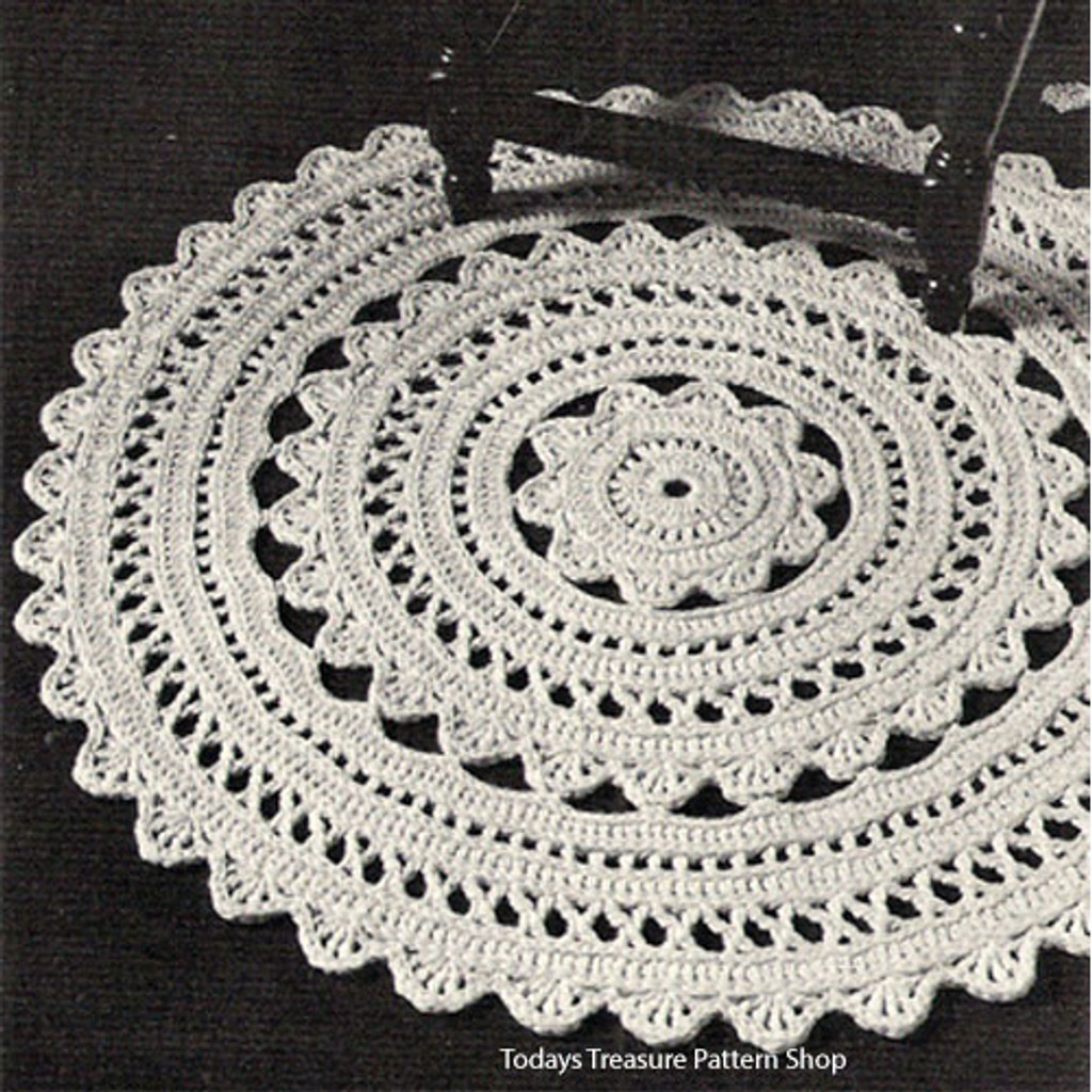 Vintage Crochet Rug Pattern, Doily Dream