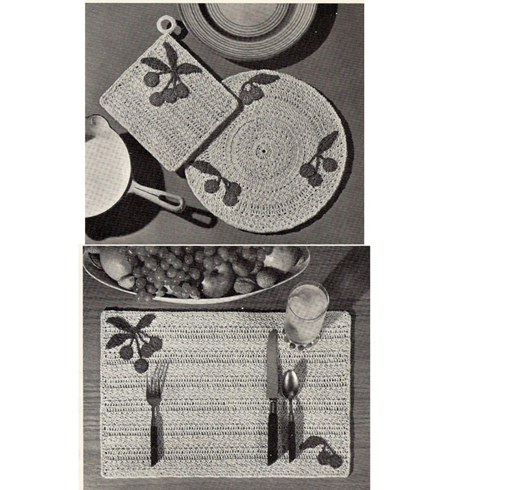 Cherry Mats Crochet Pattern from Coats Clark's