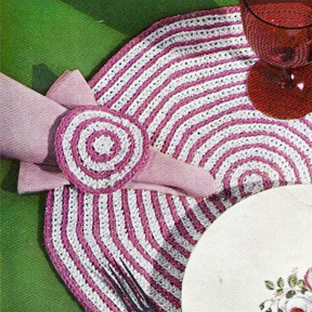 Vintage Candy Cane Crocheted Mats Pattern