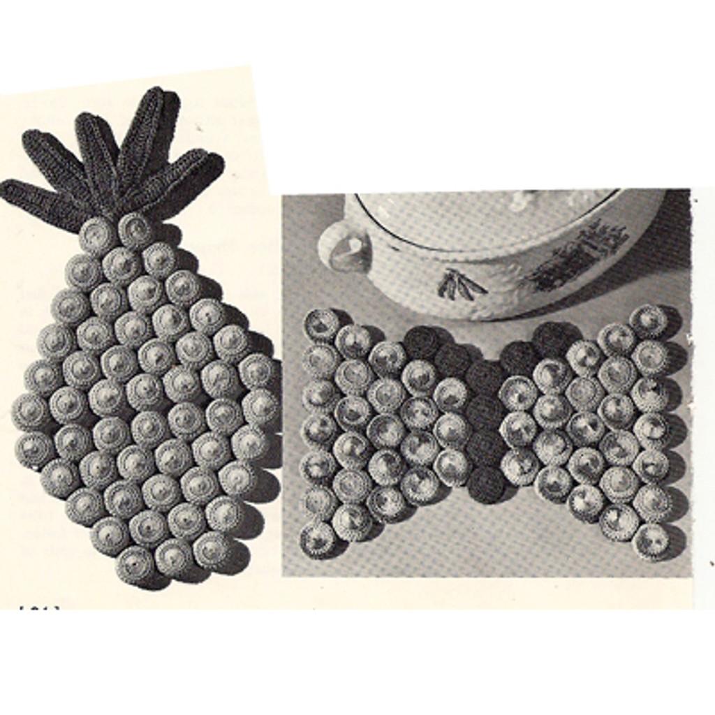 Crochet Mats Pattern with Bottle Caps in Grape Motif