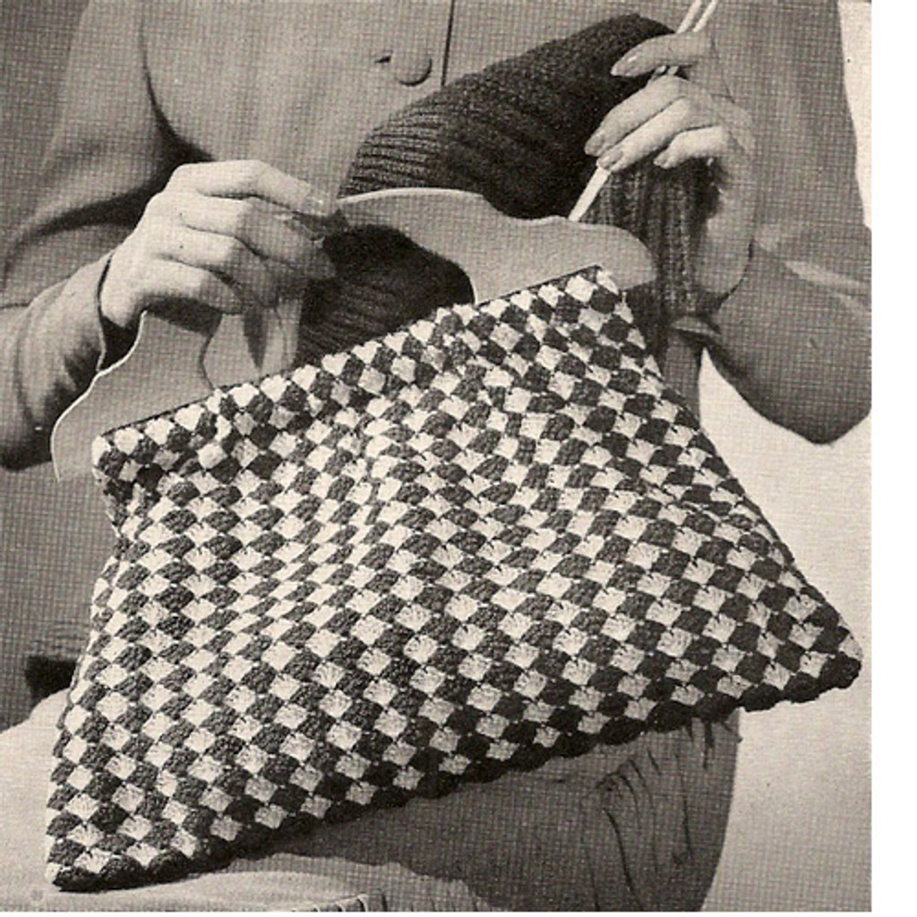 Crochet Pattern, checked utility bag