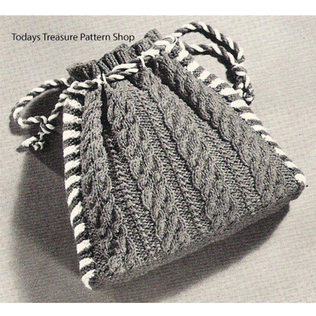 Knitted Cable Bag Pouch Pattern