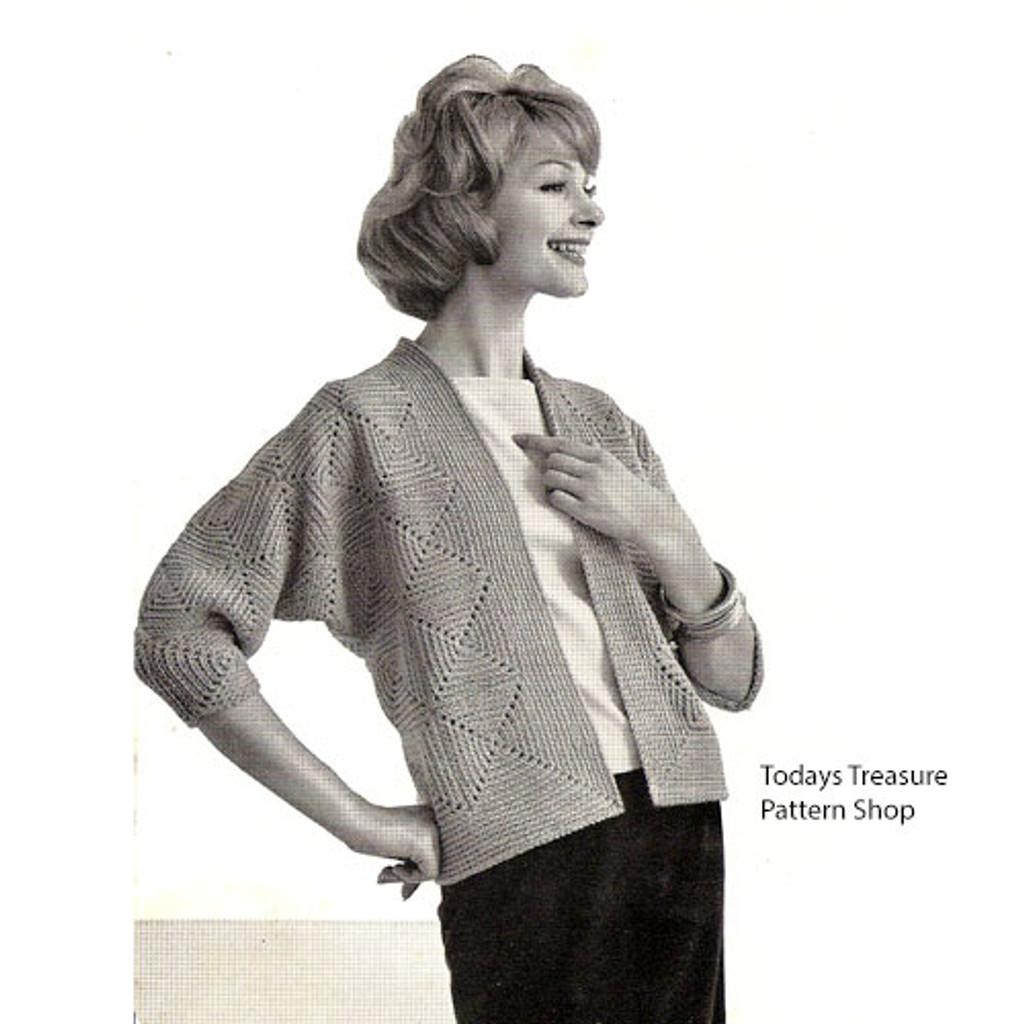Vintage Crocheted Easy Cardigan Pattern