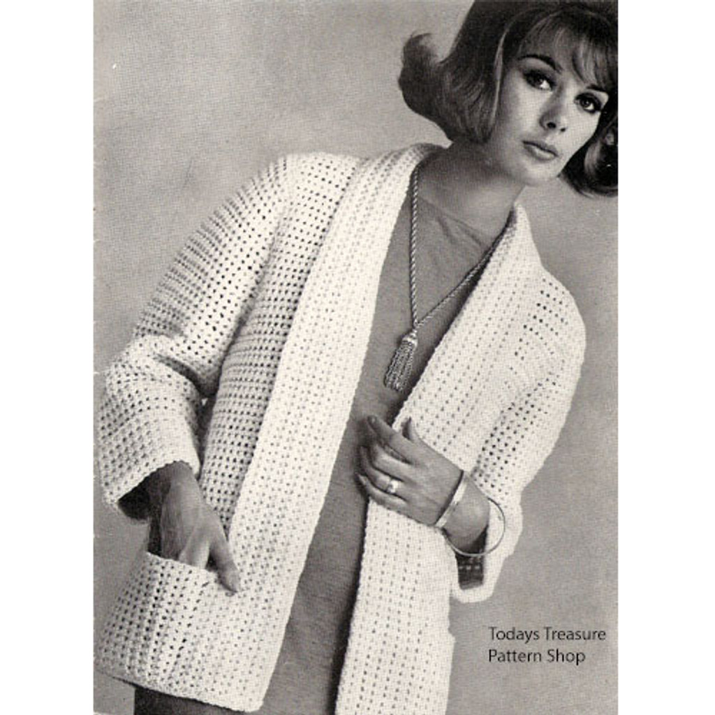 Easy Crochet Cardigan Pattern, Shawl Collar Pockets