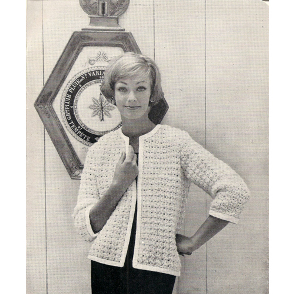 Knitting Pattern three quarter sleeve cardigan with open front
