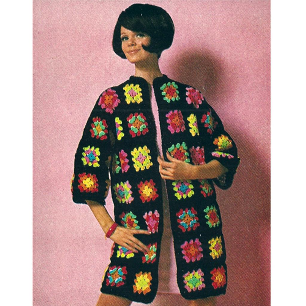 Vintage Crochet Granny Square Coat Pattern