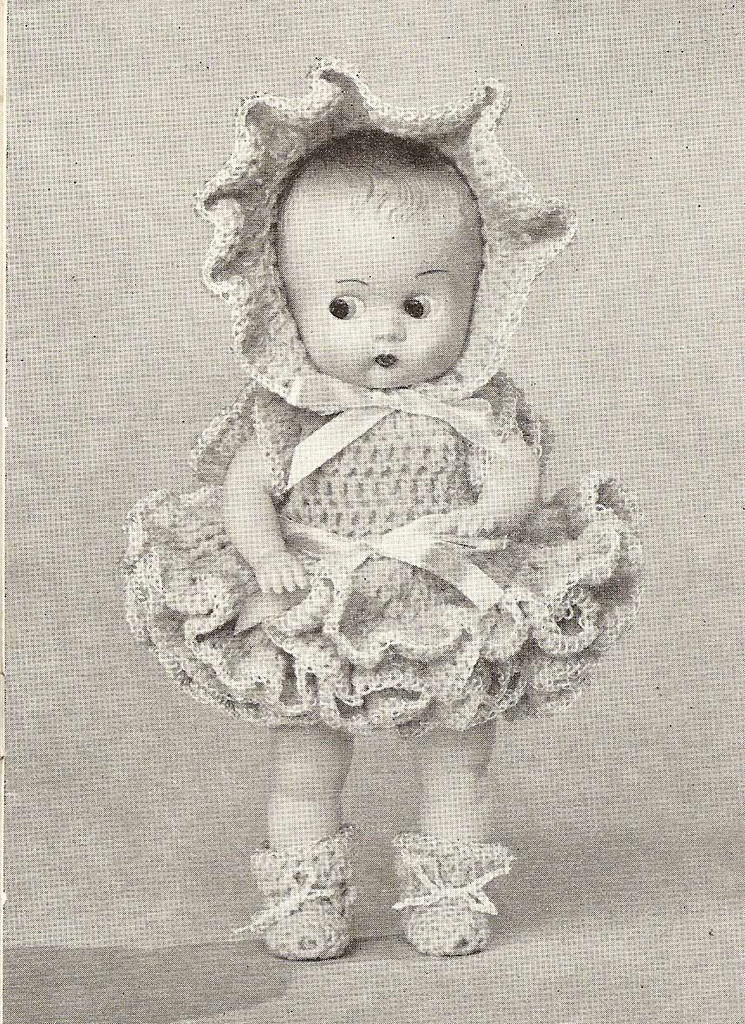 """Vintage 8"""" doll dress crochet pattern named Connie"""