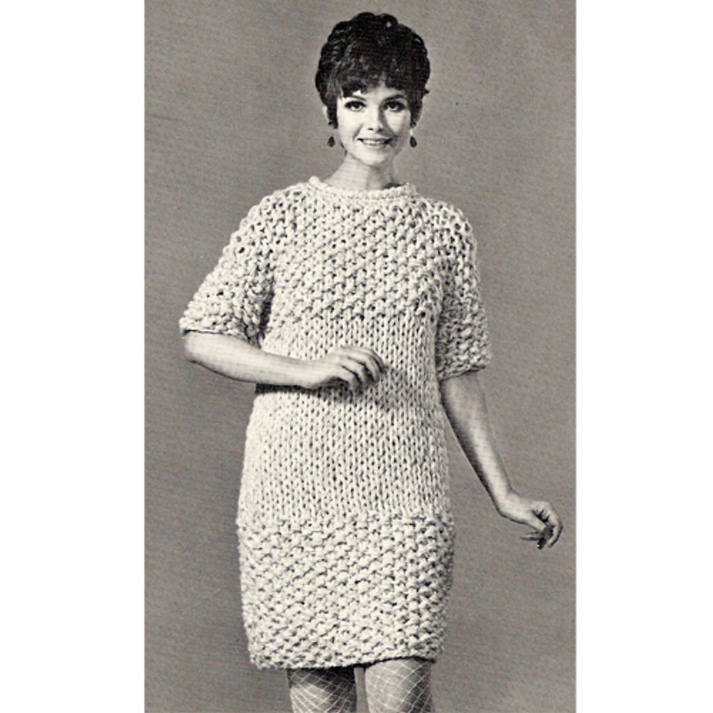 Moss Stitched Knitted Dress Pattern on Big Needles