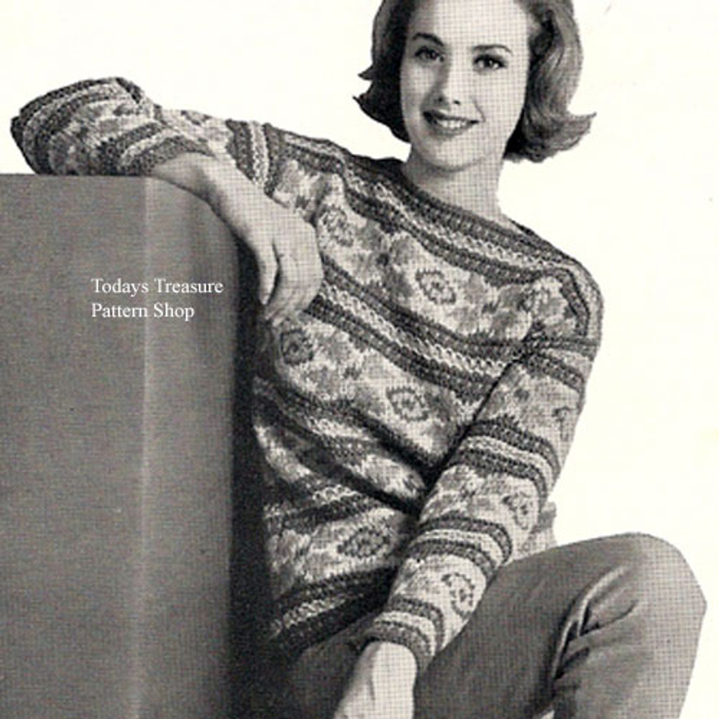 Vintage Knitted Striped Pullover Pattern with Flower Motif