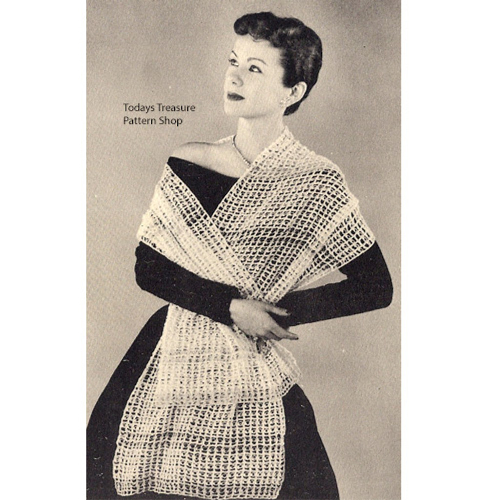 Vintage Knitted Wrap Stole Pattern