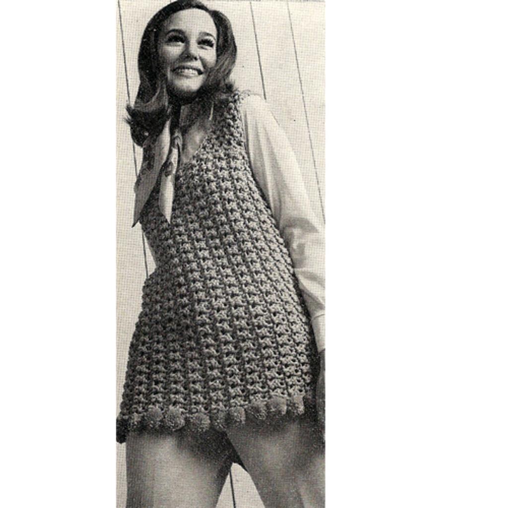 Pompom trimmed shell crochet pattern, below hip