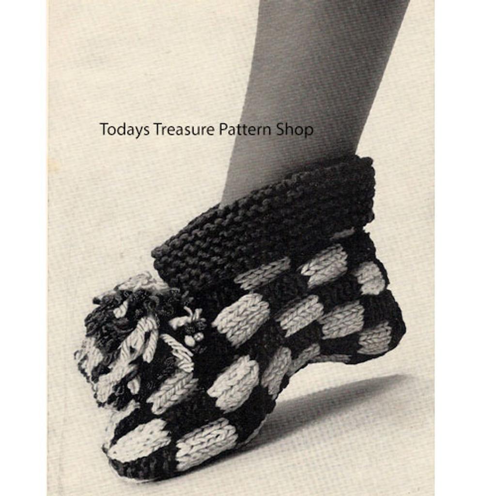 Black White Checked slippers Crochet Pattern