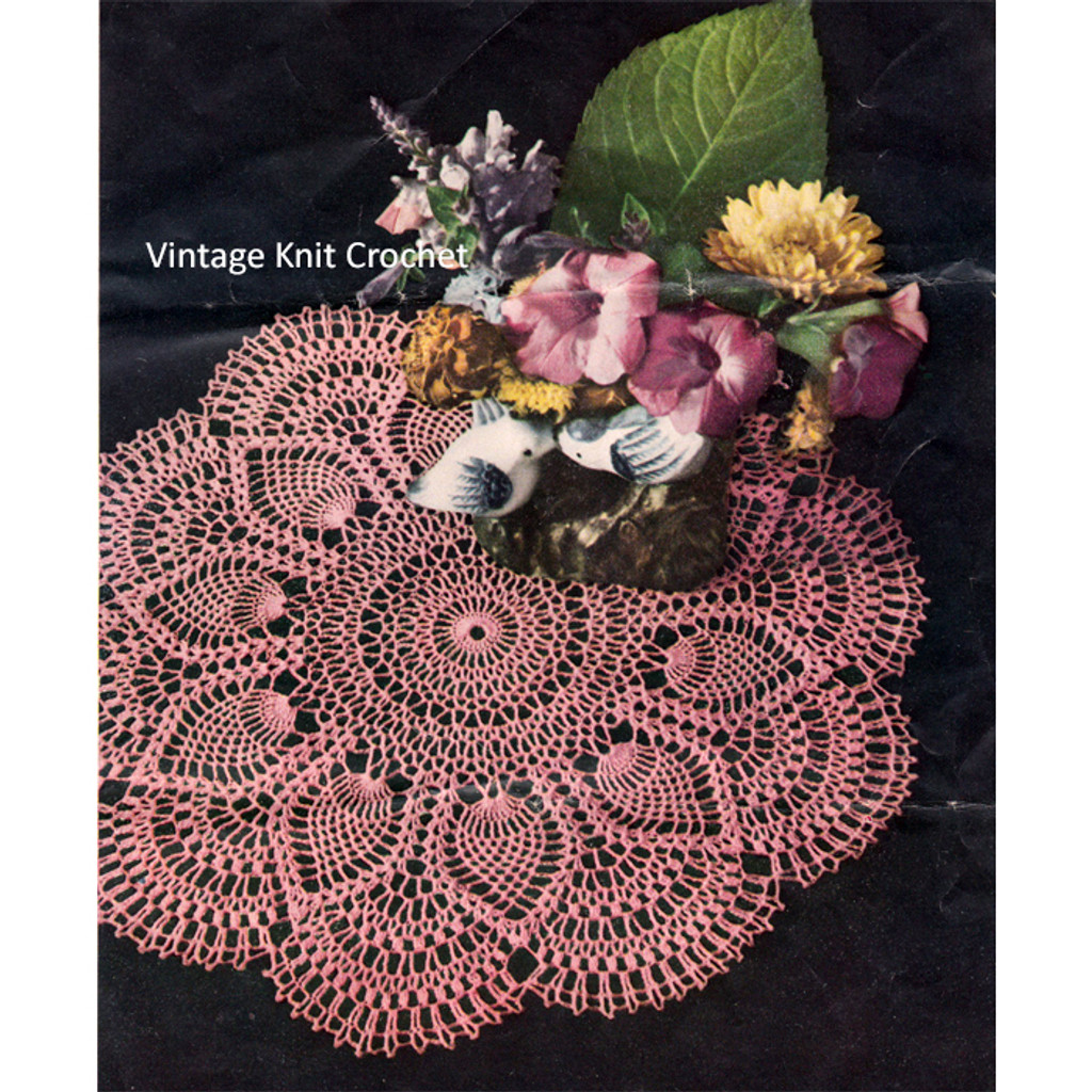 7141 Vintage Design 3-PINEAPPLE DOILIES Patterns to Crochet Reproduction