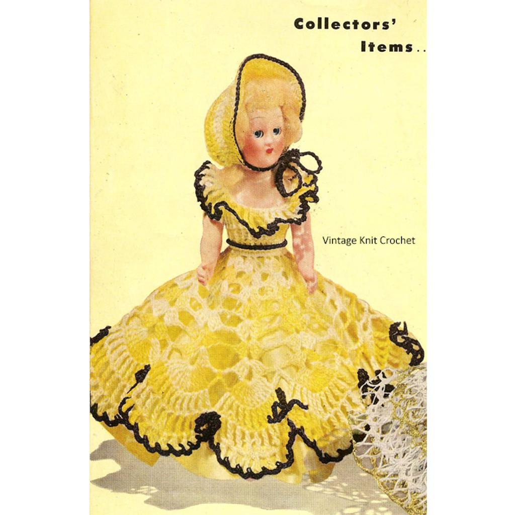8 inch Crochet Doll Dress Pattern, Vintage 1950s