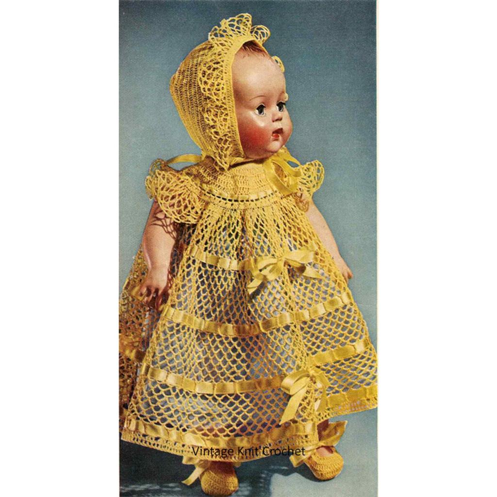 Vintage Christening Party Crochet Doll Dress Pattern