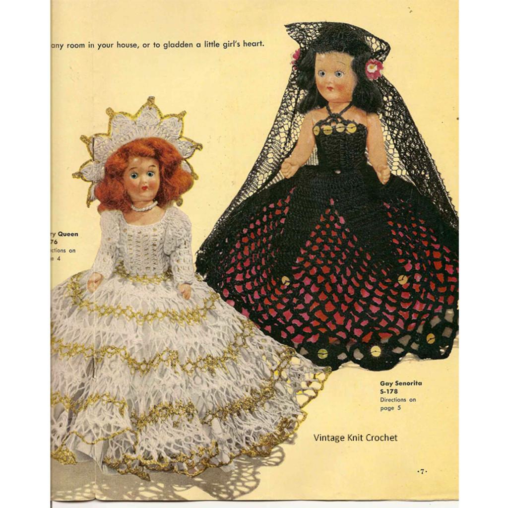 Gay Senorita Crochet Doll Dress Pattern