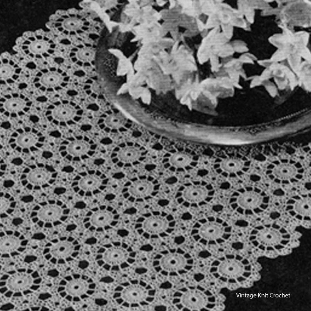 Snowdrift Crochet Medallion Runner Pattern