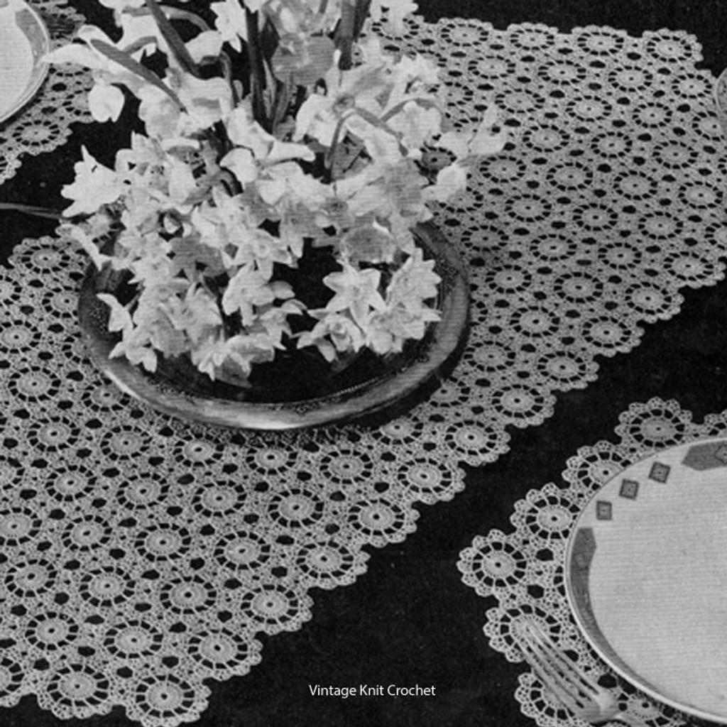 Vintage Crochet Mats Pattern in Snowdrift Medallions