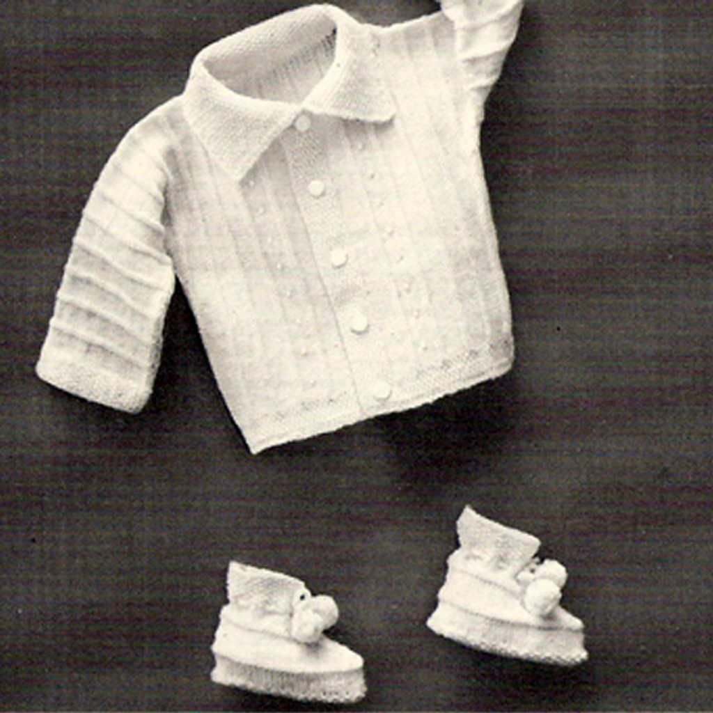 Baby Boy Knitted Jacket Booties Pattern