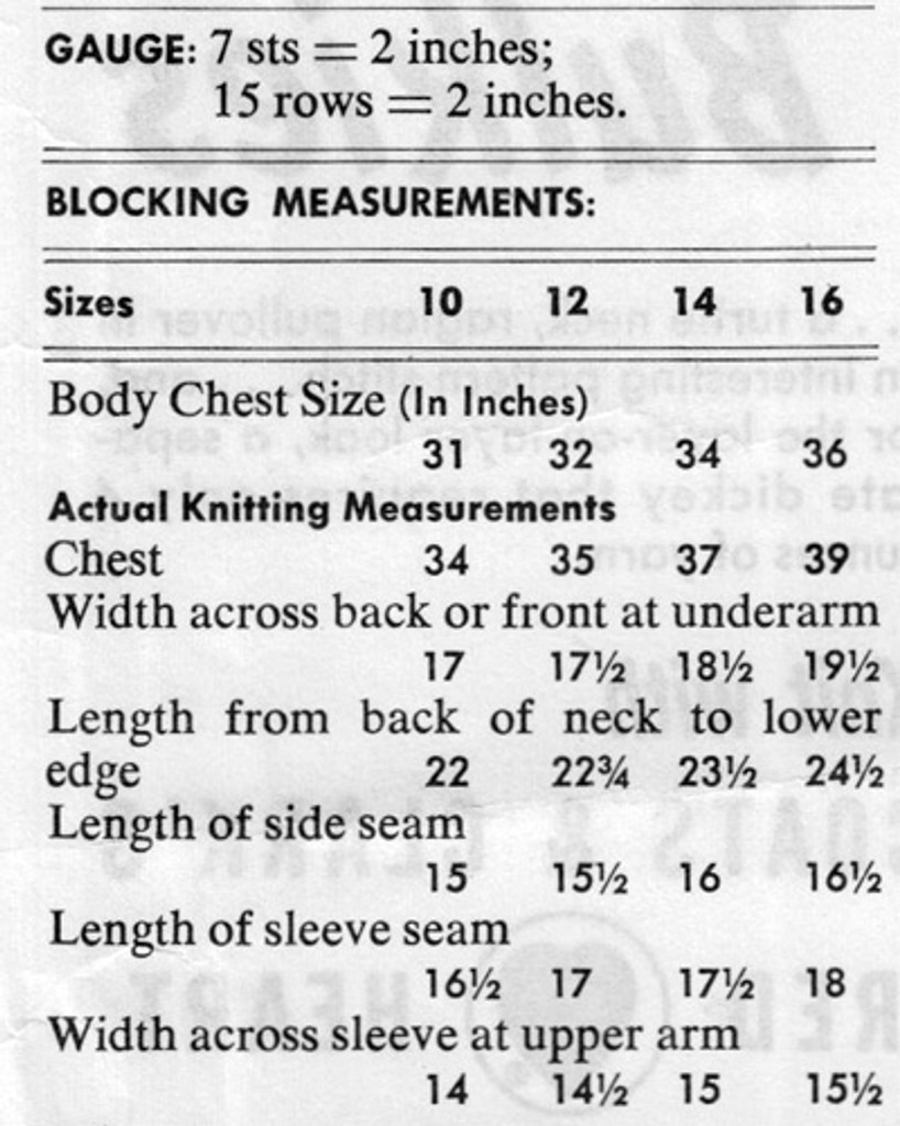 Blocking Measurements for Knitted Cowl Sweater Pattern