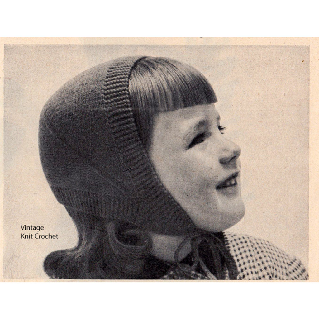 Girls Knitted Cap Pattern with neck ties
