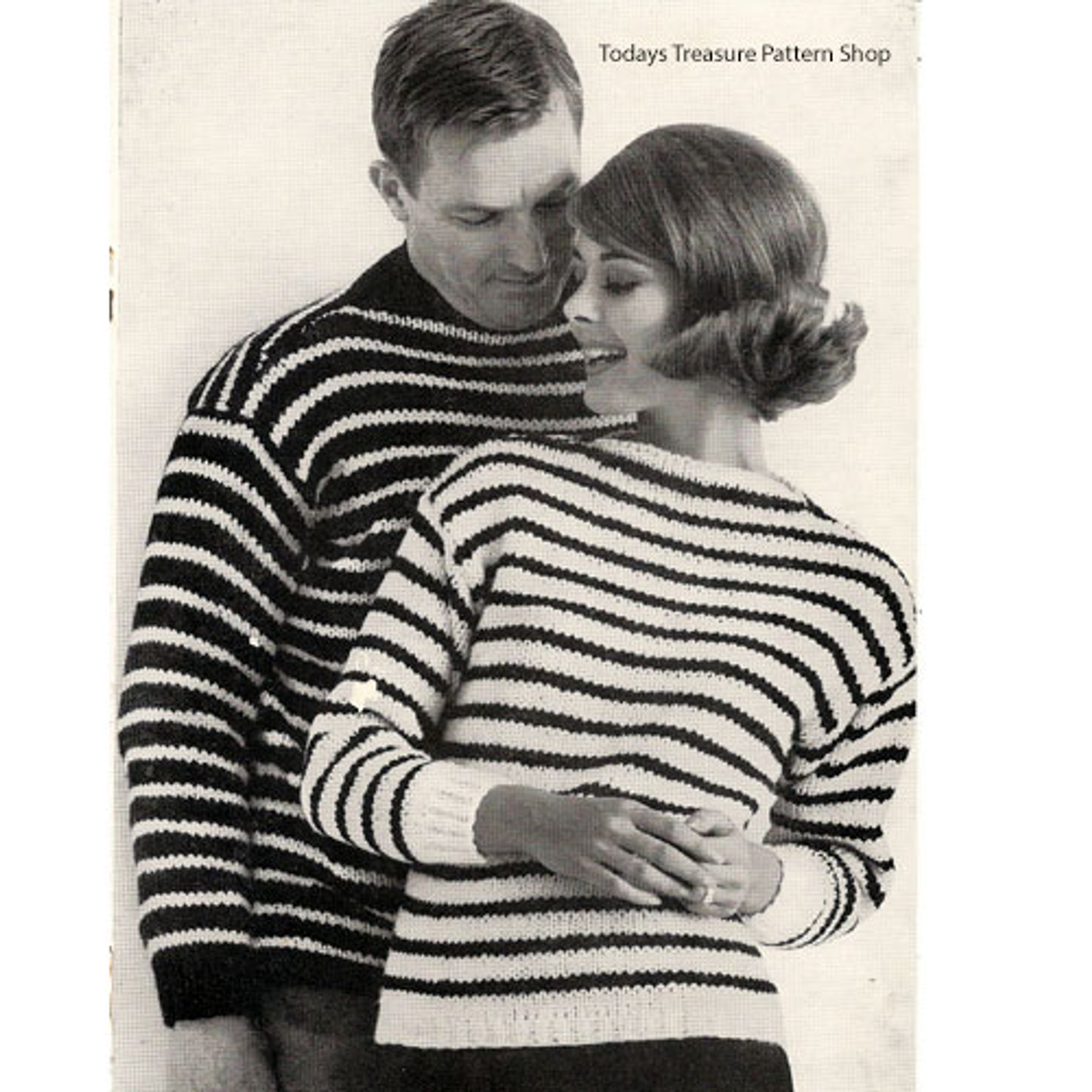 Knitted Mens Misses Striped Pullovers Pattern