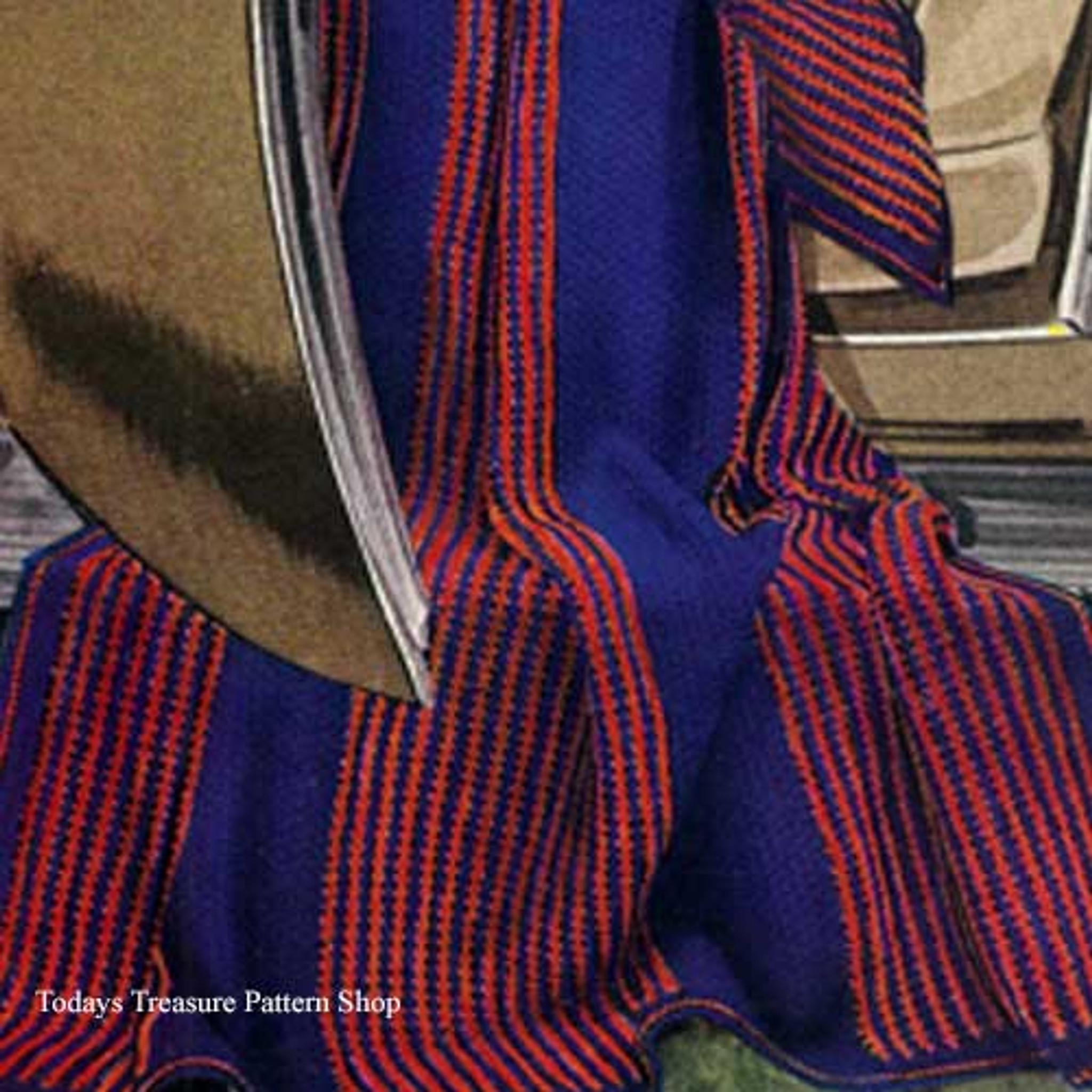 Striped Afghan Knitting Pattern : Knitted Regimental Striped Afghan Pattern