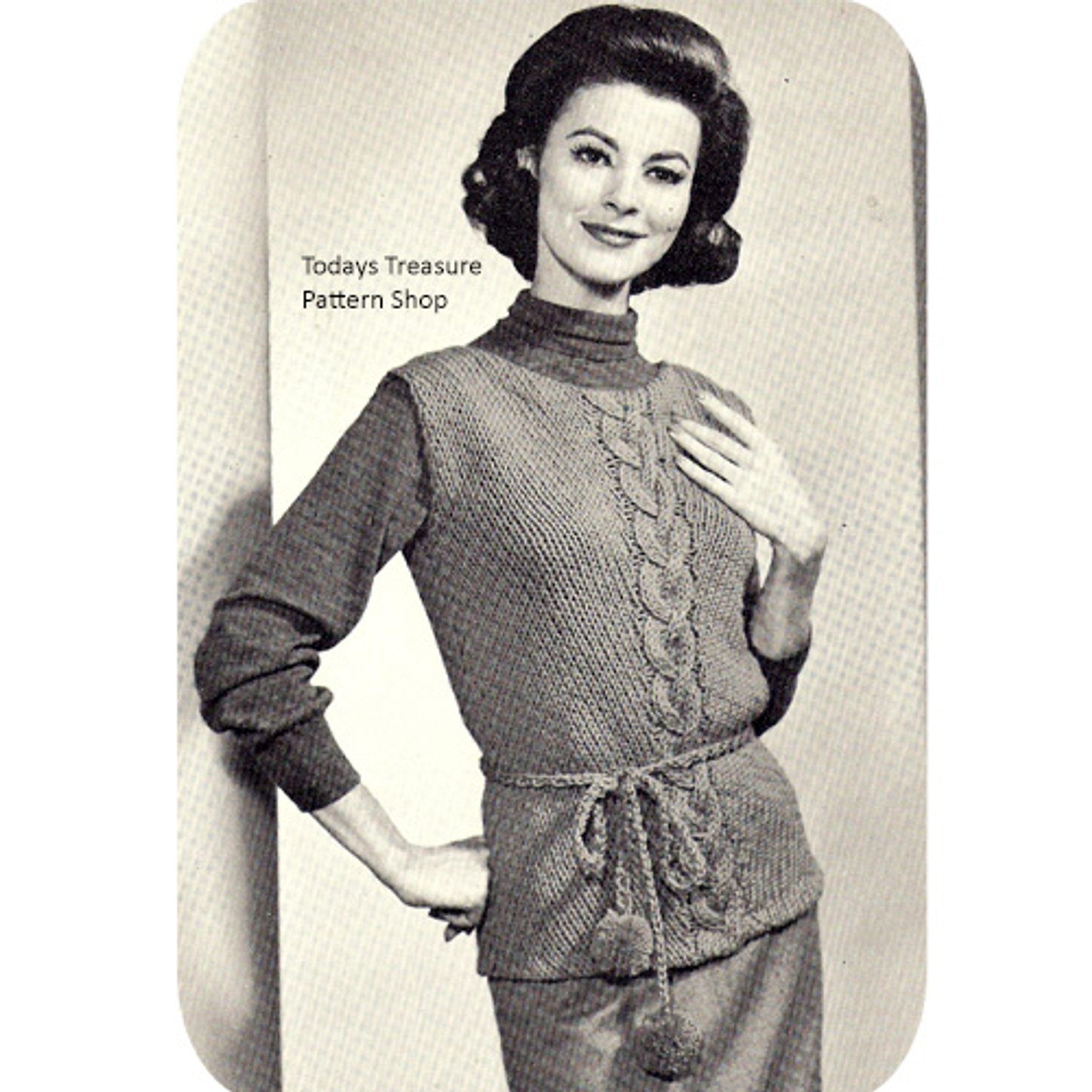Belted Cable Sleeveless Pullover Pattern