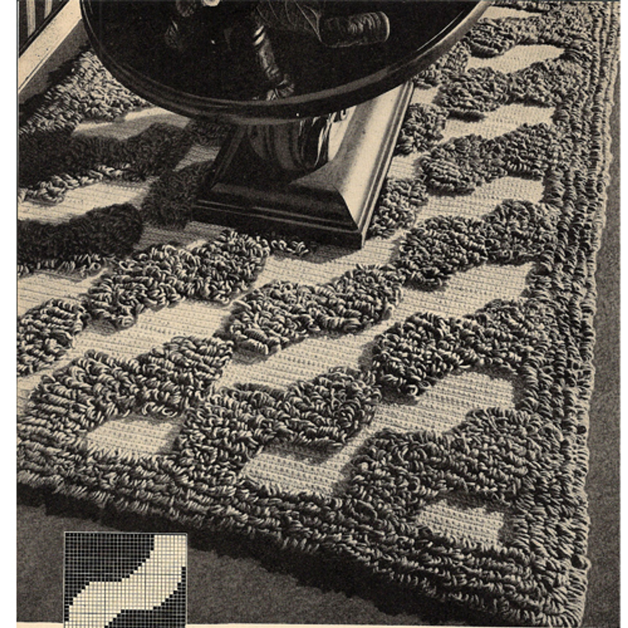 Crocheted Waves Loop Stitch Rug Pattern